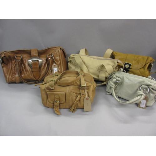 42 - Francesco Biasia tan leather hobo bag, together with a Jane Shilton handbag and three other various ...