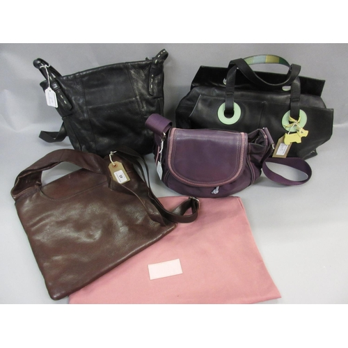 45 - Radley brown leather messenger bag with dust cover,  together with a black leather Radley handbag an...