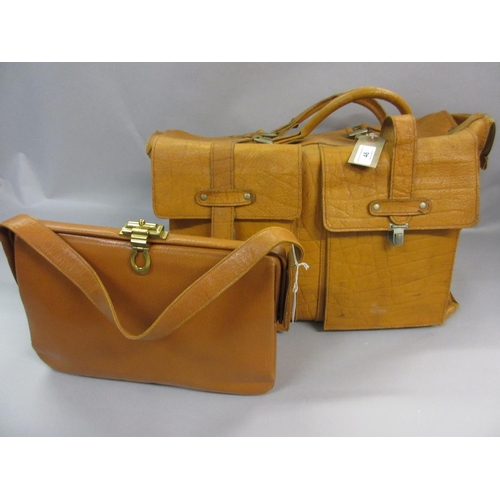 46 - Tan leather holdall together with a tan 1950 / 60's handbag, The Voyager...