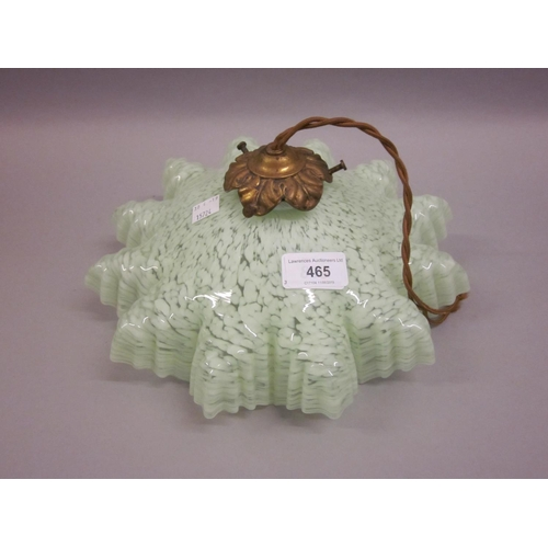465 - Victorian green mottled glass crinkled edge lamp shade with gilt metal fitting...