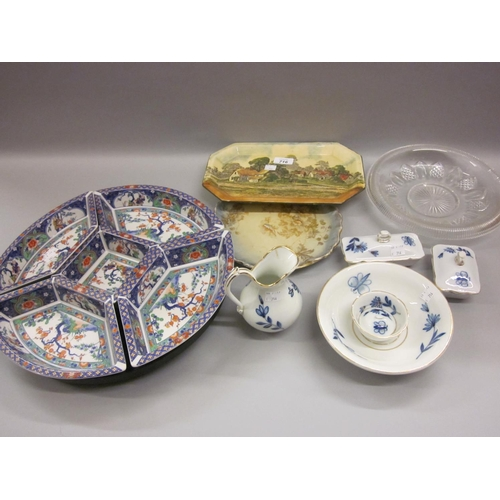 467 - Continental porcelain dressing table tray, a Doulton Seriesware dish and other ceramics and glass...