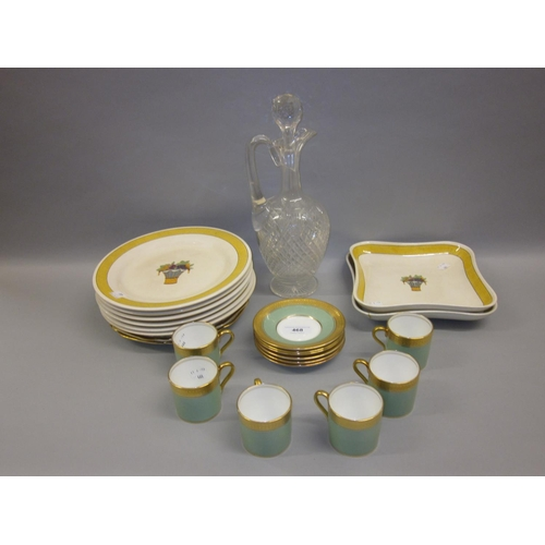 468 - Two King George VI Coronation commemorative plates, a set of six Aynsley coffee cans and saucers, a ...