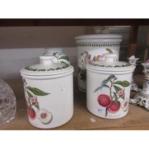 477 - Large Portmeirion Botanic Garden pattern jar and cover, pair of similar Pomona, jars with covers and...