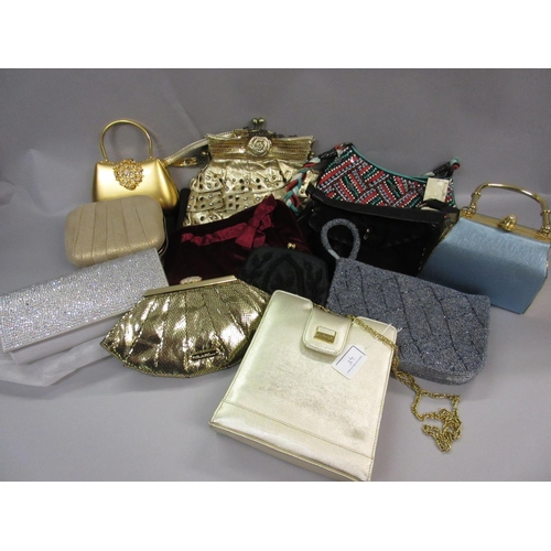 48 - Jane Shilton gold evening bag together with a quantity of other various evening bags and purses...