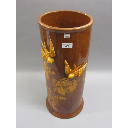 485 - 19th Century Wedgwood brown glazed pottery cylindrical stick stand relief moulded with birds and flo...