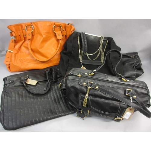 53 - Laura Ashley black leather handbag together with three other various black bags and a large orange s...