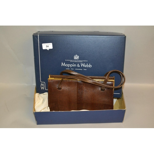 54 - Ladies Mappin and Webb brown leather handbag in original box...