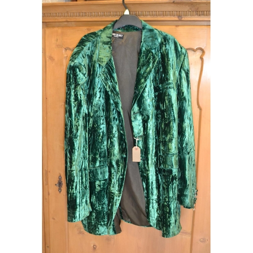 55 - Tom Gilbey of London, green crushed velvet jacket, bearing labels...