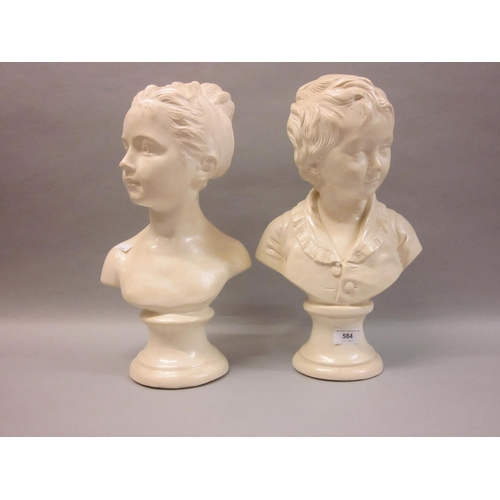 584 - Pair of plaster busts of children...