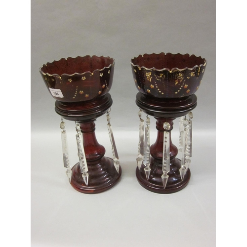 596 - Pair of 19th Century ruby glass lustres with prismatic glass drops...