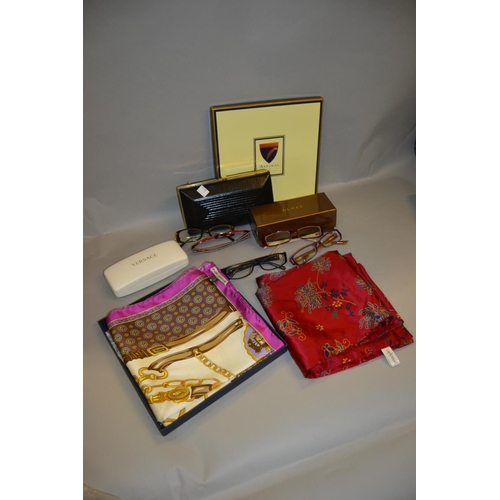 60 - Aspinal of London boxed silk scarf, two other silk scarves, a quantity of designer spectacles and a ...