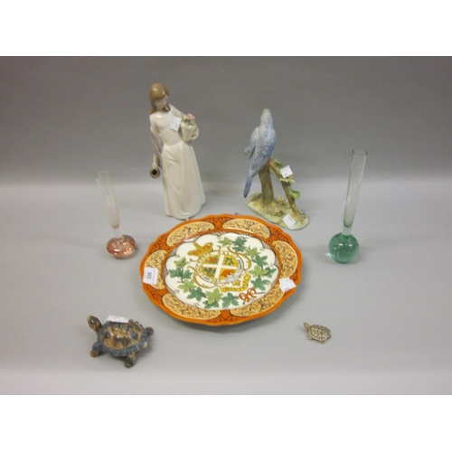 605 - Crown Staffordshire figure of a budgerigar on a branch (at fault), two Wade tortoises, two glass bud...
