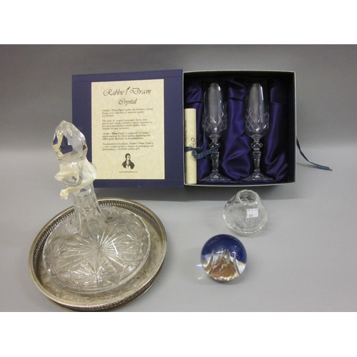 615 - Cut glass ship's decanter and vase by Edinburgh Crystal, set of two glasses in presentation box, a b...