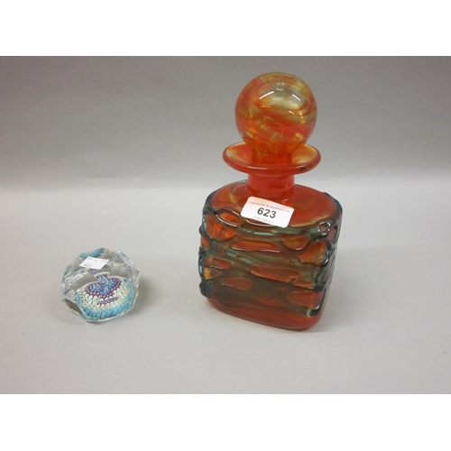 623 - Mdina Art glass decanter with stopper and a Whitefriars facet cut Millefiori glass paperweight...