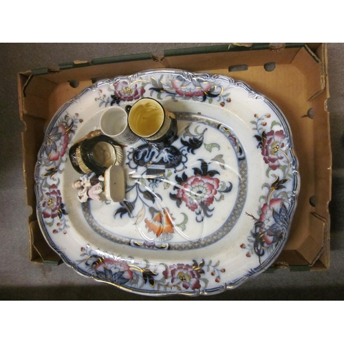 626 - Box containing a quantity of various ceramics including a large floral decorated meat plate, Toby ju...