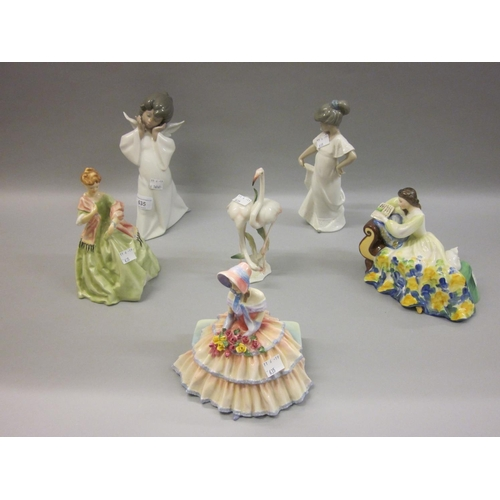 635 - Lladro figure of a girl angel, together with a Nao figure of a girl, a German porcelain group of fla...