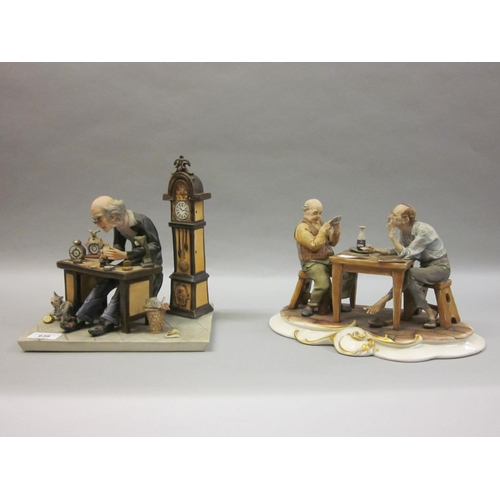 639 - Naples Capo di Monte porcelain group, card players seated at a table together with a Naples Capo di ...