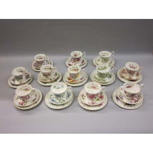 640 - Set of twelve Royal Albert trios, ' Months of the Year ' (some seconds)...
