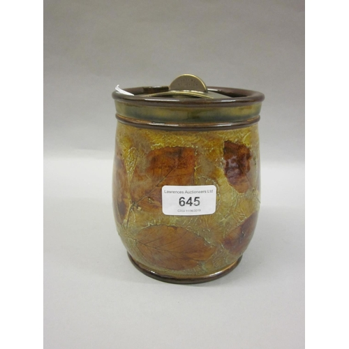 645 - Royal Doulton Autumn Leaves pattern tobacco jar with cover...