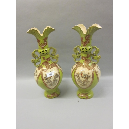 646 - Pair of Japanese Satsuma pottery two handled vases decorated with panels of figures and a phoenix, 1...