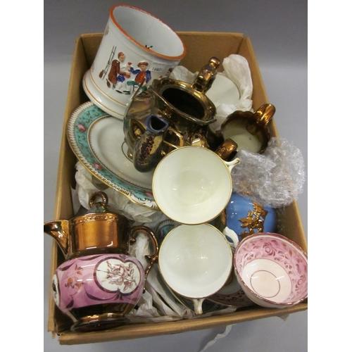 650 - Three copper lustre jugs, similar teapot, quantity of 19th Century teaware etc....