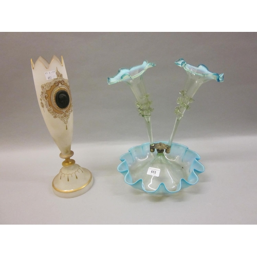 653 - Victorian glass two branch part epergne together with a Victorian white opaque glass vase...