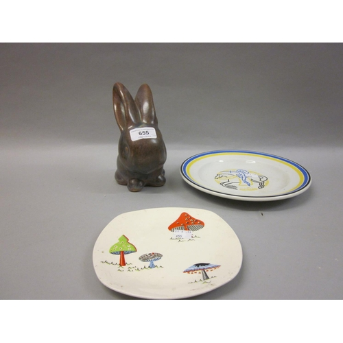 655 - Denby stoneware figure of a rabbit, together with an Ashtead pottery plate decorated with a knight o...