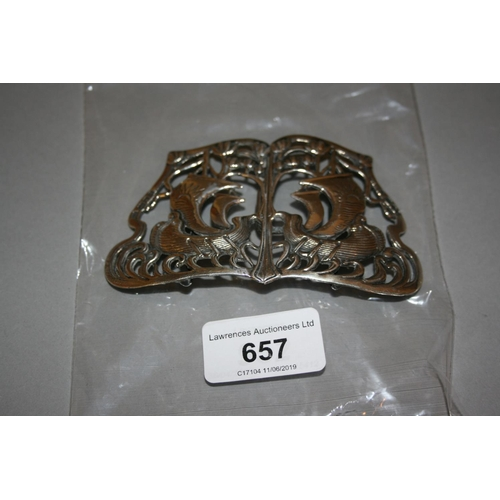 657 - Arts and Crafts silver buckle cast with Viking type sailing ships, London, 1900, makers mark S.J....