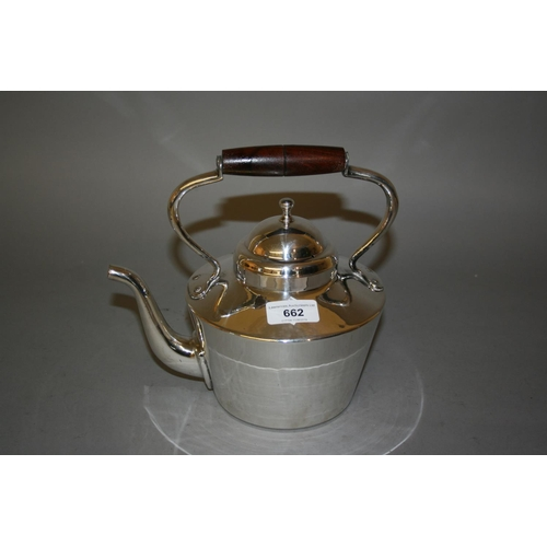 662 - Arts and Crafts silver plated tea kettle with turned wooden handle...