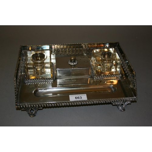 663 - Early 20th Century rectangular silver plated two bottle inkstand with central stamp box (minus ink b...