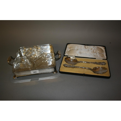665 - Glass and silver plate hors d'oeuvre dish together with a cased pair of silver plated spoons...