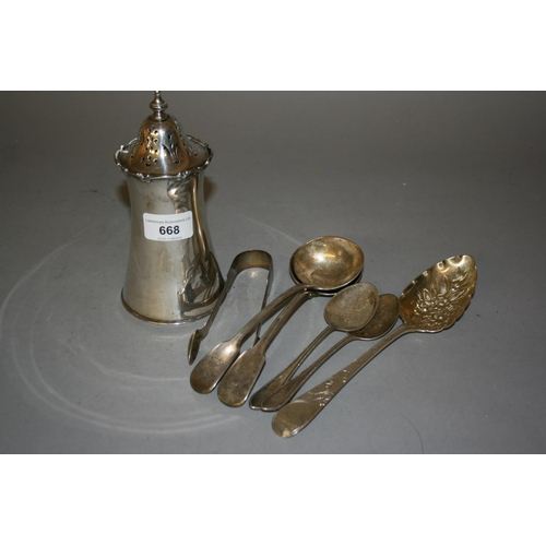 668 - London silver circular sugar caster of waisted form, makers mark G.H., together with a pair of Georg...