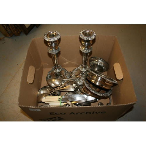 670 - Pair of 19th Century plate on copper candlesticks, a modern plated three light candelabra, pair of 1...
