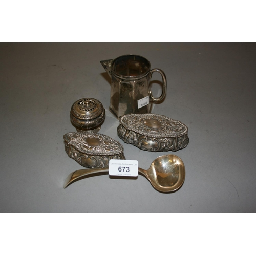 673 - Small George III silver spice pot (at fault), two embossed silver trinket boxes, an octagonal London...
