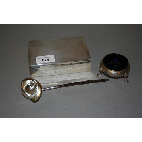 676 - Birmingham silver cigarette box with hinged engine turned cover, engraved with signatures, together ...