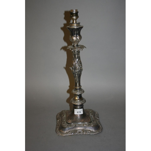 678 - 19th Century silver plated candelabra base adapted for use as a table lamp...