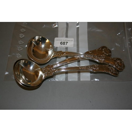 687 - Set of three William IV silver Honeysuckle pattern sauce ladles...