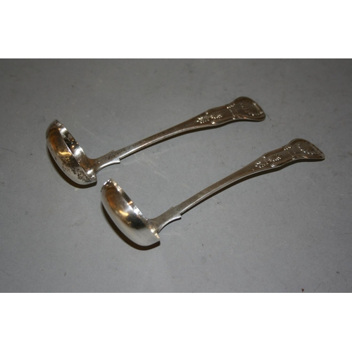 692 - Pair of Victorian Scottish silver Kings pattern sauce ladles...