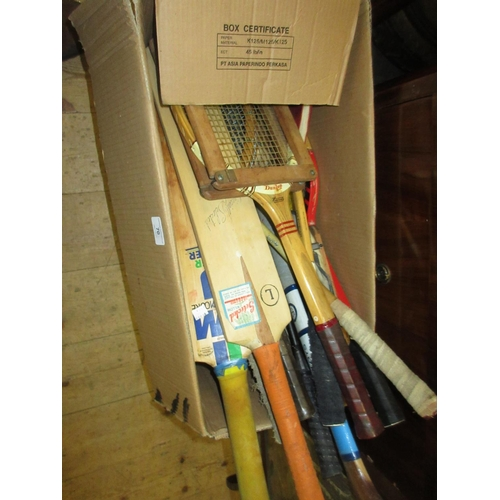 70 - Quantity of various tennis rackets, cricket bats etc...