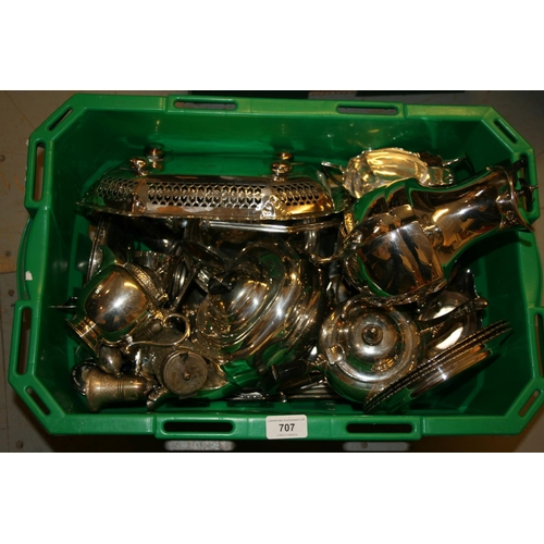 707 - Box containing a quantity of various silver plated condiments, three piece plated tea set and variou...