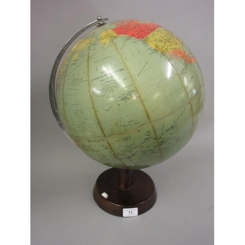 71 - Early 20th Century Philips Challenge 13.5in globe on a wooden base...