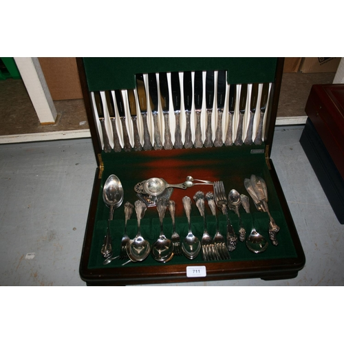 711 - Mahogany cased canteen of silver plated cutlery...