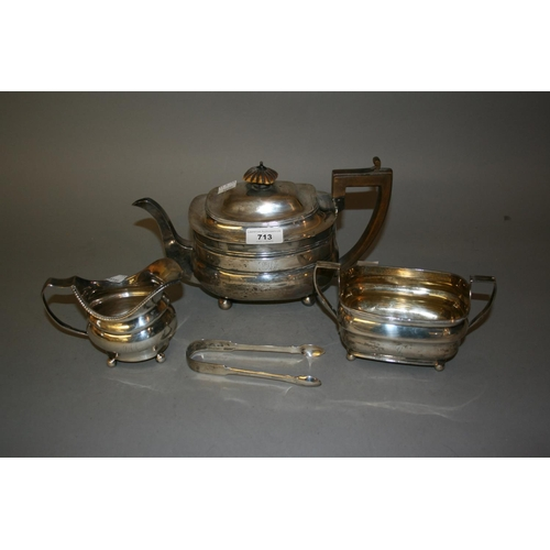 713 - George III London silver teapot with boxwood handles, makers mark I.C., together with a similar Geor...