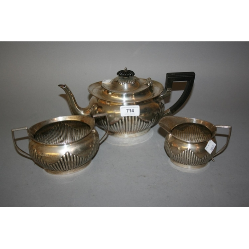 714 - Sheffield silver three piece teaset with ebonised handle, makers mark for Mappin & Webb...