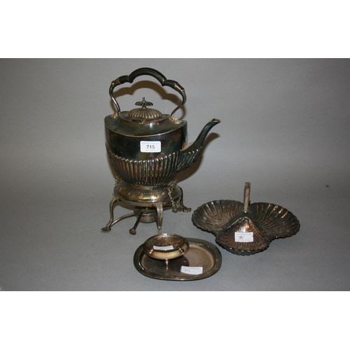 715 - Silver plated spirit kettle on stand with burner, silver plated shell form hors d'oeuvre dish and a ...