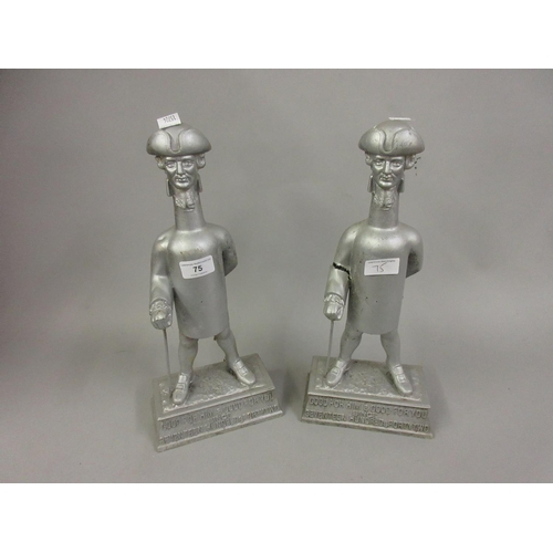 75 - Pair of Worthington cast aluminium advertising figures, ' Good for Him ' and ' Good for You '...
