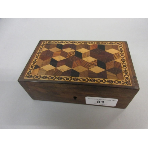 81 - Small 19th Century Tunbridge ware box with inlaid parquetry design to the lid, 5.25ins x 3.25ins x 2...