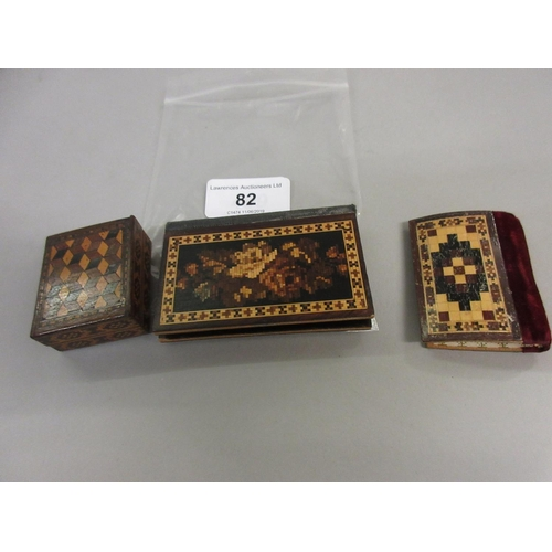 82 - Tunbridge ware stamp box with inlaid parquetry design, Tunbridge ware needle case with geometric inl...