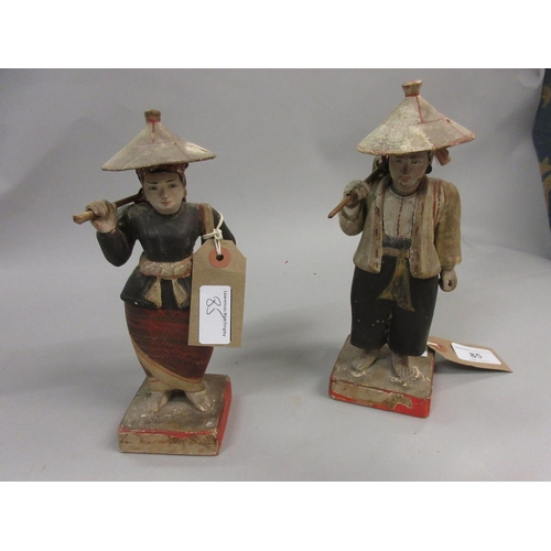 85 - Pair of 19th Century Chinese carved and painted polychrome figures of trades people, each on a squar...