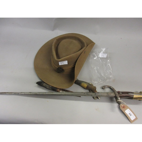 89 - French 1882 pattern bayonet, King George VI Military Police hat, hunting knife with carved horn grip...
